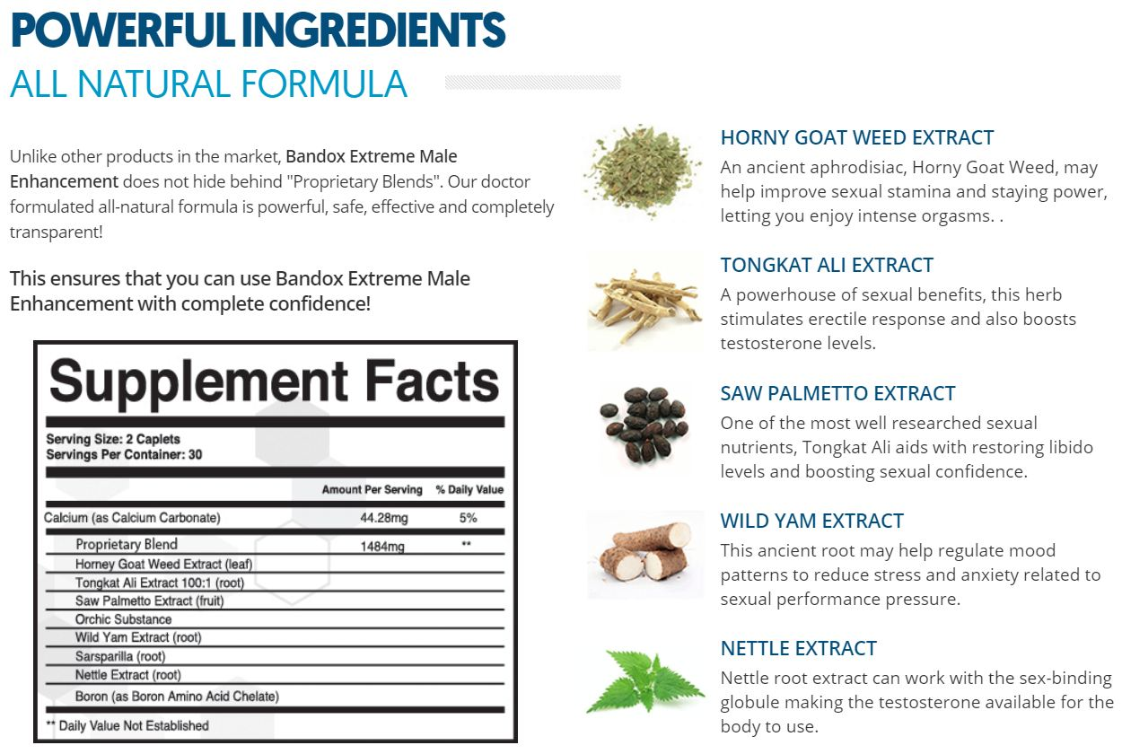 Bandox Extreme Male Ingredients